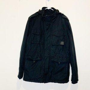 Adidas Original Men's Black Cotton Canvas Utility Jacket Coat L Large
